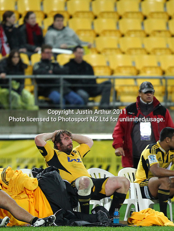 Hurricanes Captian Andrew Hore watches the game from the bench .Super15 rugby union match - Crusaders v Hurricanes at Westpac Stadium, Wellington, New Zealand on Saturday, 18 June 2011. Photo: Justin Arthur / photosport.co.nz