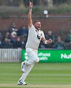 Wicket - Michael Clayton of Kent celebrates taking the wicket of Steve Davies of Somerset during the Specsavers County Champ Div 1 match between Somerset County Cricket Club and Kent County Cricket Club at the Cooper Associates County Ground, Taunton, United Kingdom on 7 April 2019.