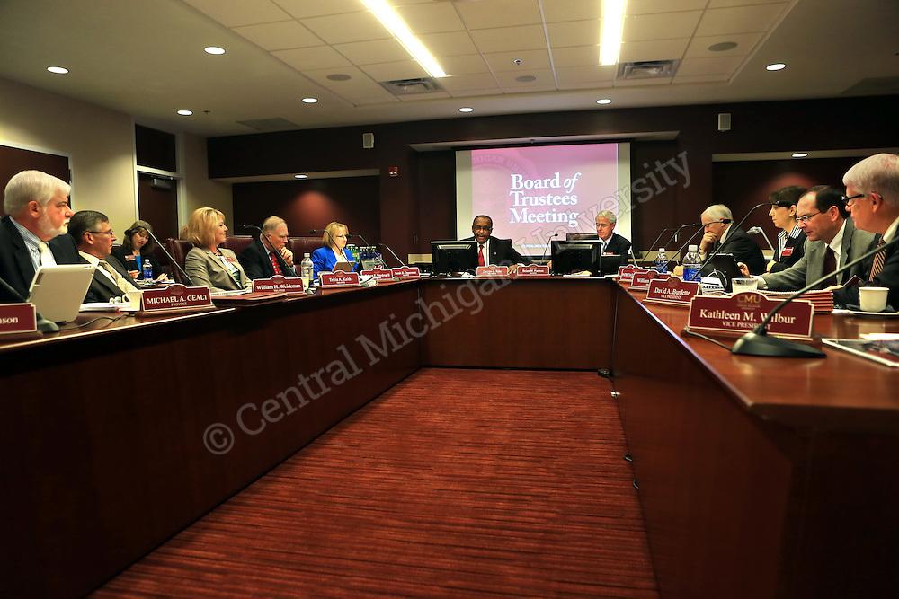 CMU President George E. Ross speaks as the Board of Trustees meet in the University Center on Thursday September 19, 2013.