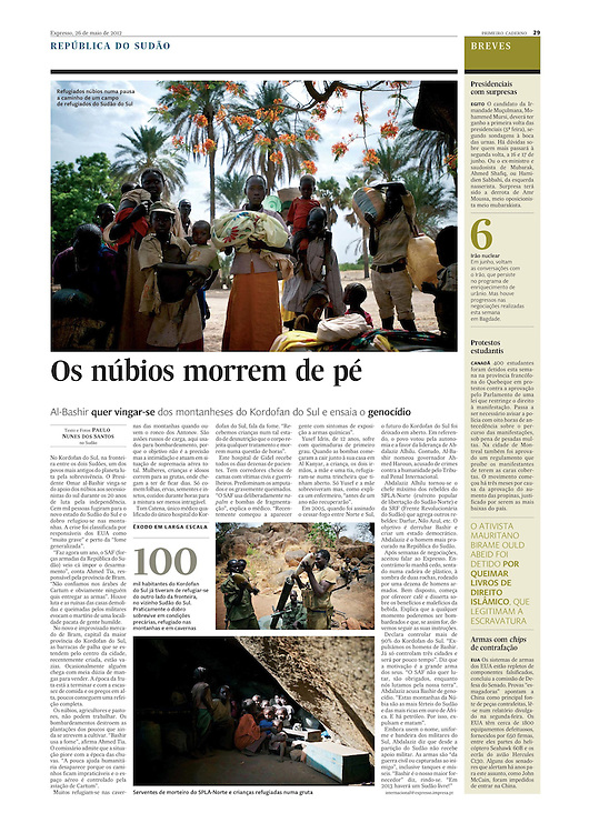 "Tearsheet of ""Nuba Mountains"" (text and photos) published in Expresso"