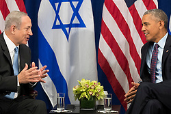 (L to R) Prime Minister of Israel Benjamin Netanyahu speaks to U.S. President Barack Obama meet during a bilateral meeting at the Lotte New York Palace Hotel, September 21, 2016 in New York City. Last week, Israel and the United States agreed to a $38 billion, 10-year aid package for Israel. Obama is expected to discuss the need for a 'two-state solution' for the Israeli-Palestinian conflict. Photo by Drew Angerer/Pool/ABACAPRESS.COM
