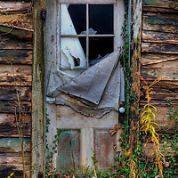 Door on old cabin in Hocking Hills Ohio