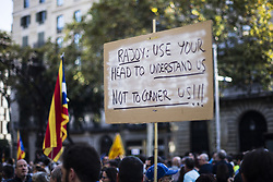 October 21, 2017 - Barcelona, Catalonia, Spain - 450,000 protesters rally in Barcelona against the arrest of President of the Omnium Cultural Jordi Cuixart and president of the Catalan National Assembly Jordi Sanchez during the day that  Spain moves to impose direct rule 155 over Catalonia and arrest region's president as tensions threaten to boil over. Spain, Barcelona on October 21 of 2017. (Credit Image: © Xavier Bonilla/NurPhoto via ZUMA Press)