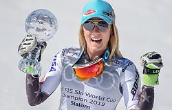 16.03.2019, Soldeu, AND, FIS Weltcup Ski Alpin, Slalom, Damen, Siegerehrung, Weltcupwertung, im Bild Mikaela Shiffrin (USA, Siegerin Slalom, Riesenslalom, Super G und Gesamteltcup) // Winner of the Slalom Giant Slalom, Super G and Overal World Cup Mikaela Shiffrin of USA during the winner ceremony for the ladie's Slalom Worldcup rating of FIS Ski Alpine World Cup finals. Soldeu, Andorra on 2019/03/16. EXPA Pictures © 2019, PhotoCredit: EXPA/ Erich Spiess