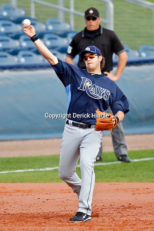 February 25, 2011; Port Charlotte, FL, USA; Tampa Bay Rays third baseman Evan Longoria (3) during a spring training split squad scrimmage at Charlotte Sports Park.  Mandatory Credit: Derick E. Hingle