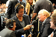 © Licensed to London News Pictures. 27/09/2011. LONDON, UK. Radio presenter Richard Bacon interviews Former Labour Leader, Lord Kinnock at The Labour Party Conference in Liverpool today (27/09/11). Photo credit:  Stephen Simpson/LNP