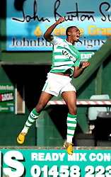 Yeovil Town's Gozie Ugwa jumps in the air whilst celebrating his goal - Photo mandatory by-line: Dougie Allward/Josephmeredith.com  - Tel: Mobile:07966 386802 01/09/2012 - SPORT - FOOTBALL - League 1 -  Yeovil  - Huish Park -  Yeovil Town v Doncaster Rovers