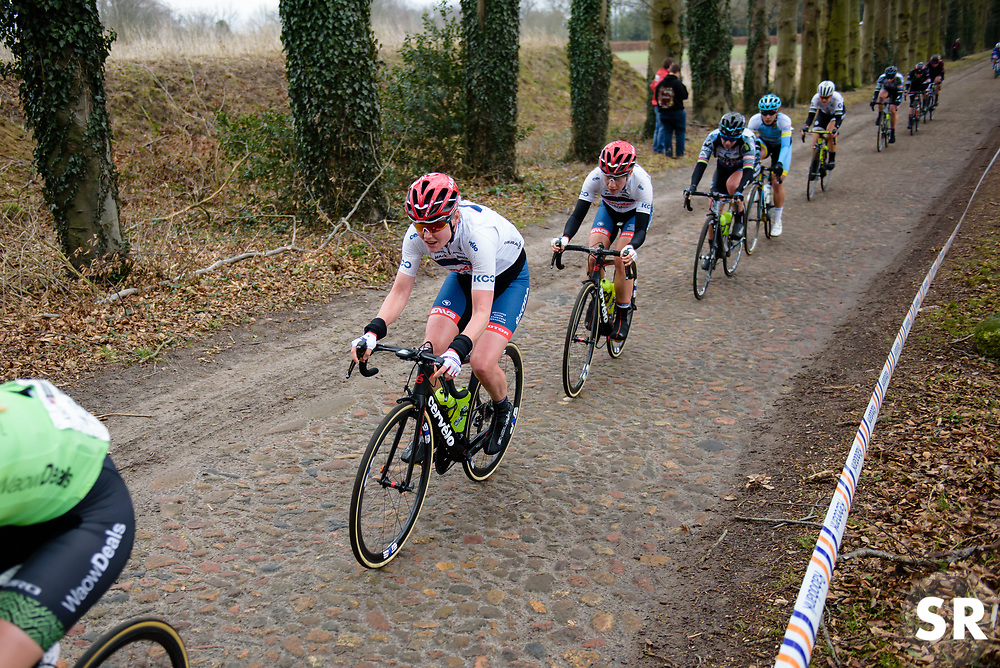 Ann Sophie Duyck across the Odoorn cobbles at Ronde van Drenthe 2018 - a 157.2 km road race on March 11, 2018, from Emmen to Hoogeveen, Netherlands. (Photo by Sean Robinson/Velofocus.com)