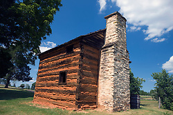 Slave cabin (reconstructed), Booker T. Washington National Monument, Hardy, Virginia, August 5, 2008.  The Monument is located on the site of the James and Elizabeth Burroughs Plantation, where Washington was born a slave on April 5, 1856.