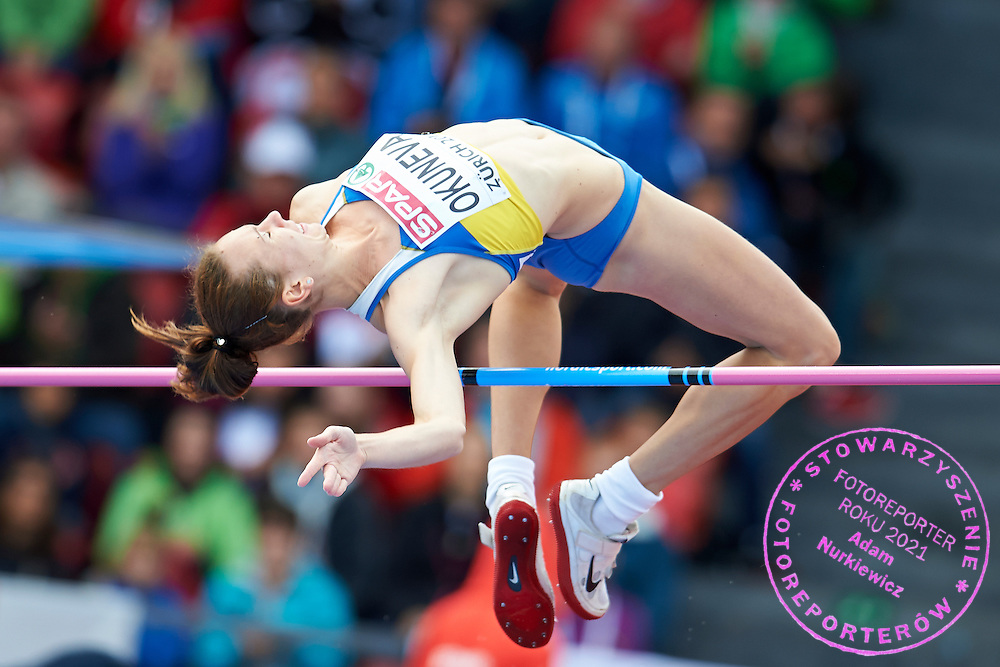 Oksana Okuneva from Ukraine competes in women's high jump qualification during the Fourth Day of the European Athletics Championships Zurich 2014 at Letzigrund Stadium in Zurich, Switzerland.<br /> <br /> Switzerland, Zurich, August 15, 2014<br /> <br /> Picture also available in RAW (NEF) or TIFF format on special request.<br /> <br /> For editorial use only. Any commercial or promotional use requires permission.<br /> <br /> Photo by &copy; Adam Nurkiewicz / Mediasport