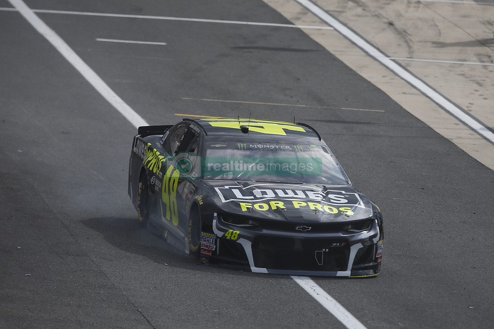 October 7, 2018 - Dover, Delaware, United States of America - Jimmie Johnson (48) goes to the garage with mechanical issues prior to the green flag for the Gander Outdoors 400 at Dover International Speedway in Dover, Delaware. (Credit Image: © Justin R. Noe Asp Inc/ASP via ZUMA Wire)