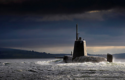 UK HMNB Clyde -- 15 Jul 2013 -- HMS Ambush returning to HMNB Clyde in Scotland. Ambush, second of the nuclear powered Astute Class attack submarines, was named in Barrow on 16 December 2010 and launched on 5 January 2011. The seven Astute Class boats planned for introduction to the Royal Navy are the most advanced and powerful attack submarines Britain has ever sent to sea. Featuring the latest nuclear-powered technology, the vessels will never need to be refuelled and are capable of circumnavigating the world submerged, manufacturing the crew's oxygen from seawater as she goes. The Astute Class are also quieter than any of her predecessors and have the ability to operate covertly and remain undetected, despite being fifty percent larger in size than the Royal Navy's current Trafalgar Class submarines. EXPA Pictures © 2016, PhotoCredit: EXPA/ Photoshot/ Thomas McDonald/Atlas Photo Arch<br /><br />*****ATTENTION - for AUT, SLO, CRO, SRB, BIH, MAZ only*****