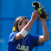 Delaware Outfielder Shelby Jones (3) catches a fly ball in the third inning of a NCAA Non Conference Regular season game between The University Of Delaware and The Peacocks of Saint Peter's Wednesday, April 23, 2014, at UD Softball Stadium in Newark Delaware.