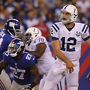 Indianapolis Colts quarterback Andrew Luck  during the New York Giants V Indianapolis Colts, NFL American Football Pre Season match at MetLife Stadium, East Rutherford, NJ, USA. 18th December 2013. Photo Tim Clayton