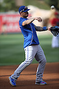 ANAHEIM, CA - AUGUST 2:  Brett Lawrie #13 of the Toronto Blue Jays plays catch during batting practice before the game against the Los Angeles Angels of Anaheim on Friday, August 2, 2013 at Angel Stadium in Anaheim, California. The Angels won the game 7-5. (Photo by Paul Spinelli/MLB Photos via Getty Images) *** Local Caption *** Brett Lawrie