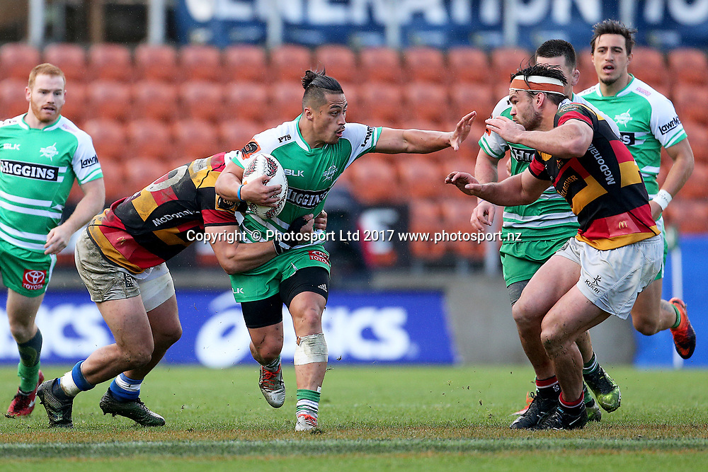Manawatu second five Jason Emery in action during the Mitre 10 Cup rugby match - Waikato v Manawatu played at FMG Stadium Waikato, Hamilton, New Zealand on Saturday 16 September 2017.  <br /> <br /> Copyright photo: &copy; Bruce Lim / www.photosport.nz