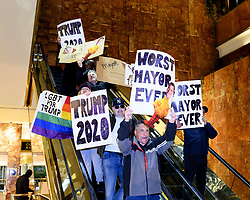 May 13, 2019 - New York, NY, U.S - Protestors at the Green New Deal rally with New York City Mayor BILL DE BLASIO (D) held in the public plaza in Trump Tower in New York City, New York on May 13, 2019. (Credit Image: © Michael Brochstein/ZUMA Wire)