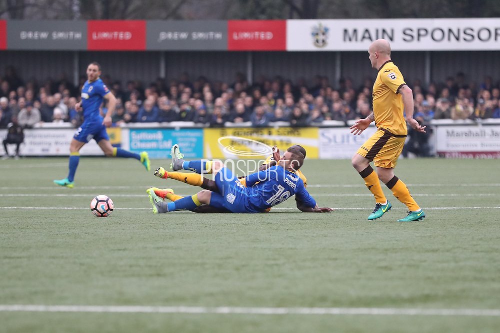 AFC Wimbledon midfielder Dean Parrett (18) during The FA Cup match between Sutton United and AFC Wimbledon at Gander Green Lane, Sutton, United Kingdom on 7 January 2017. Photo by Stuart Butcher.