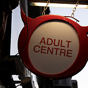 Naughty sign outside an adult 's shop in Soho, London<br />