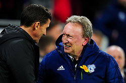 Watford manager Javi Gracia shakes hands with Cardiff City manager Neil Warnock prior to kick off - Mandatory by-line: Ryan Hiscott/JMP - 22/02/2019 -  FOOTBALL - Cardiff City Stadium - Cardiff, Wales -  Cardiff City v Watford - Premier League