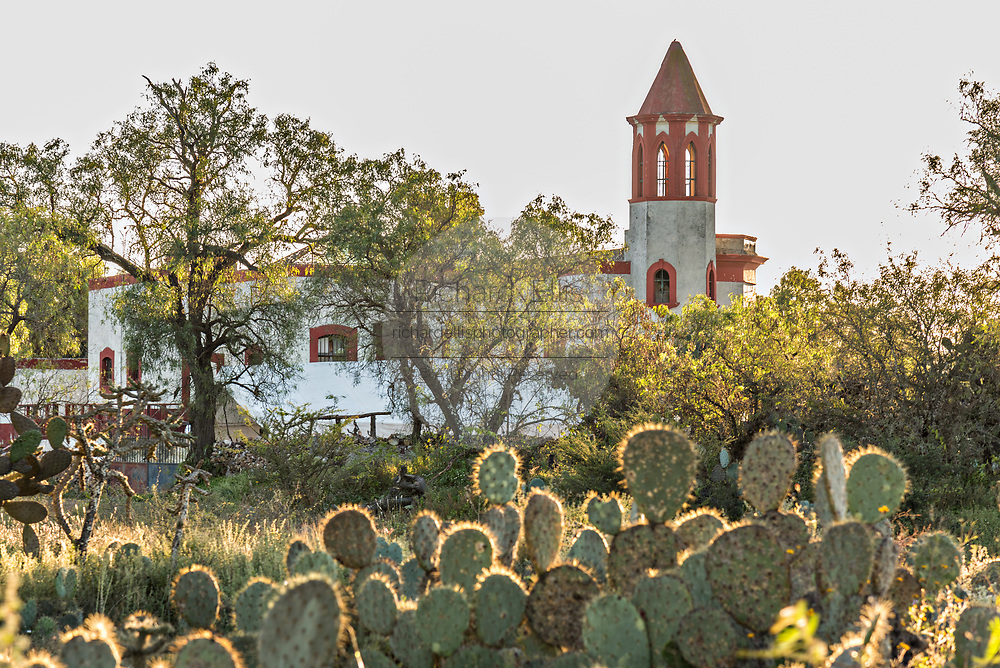 The abandoned ruins of the former Santa Brigida Hacienda in the ghost town of Mineral de Pozos, Guanajuato, Mexico. The town, once a major silver mining center was abandoned and left to ruin but has slowly comeback to life as a bohemian arts community.