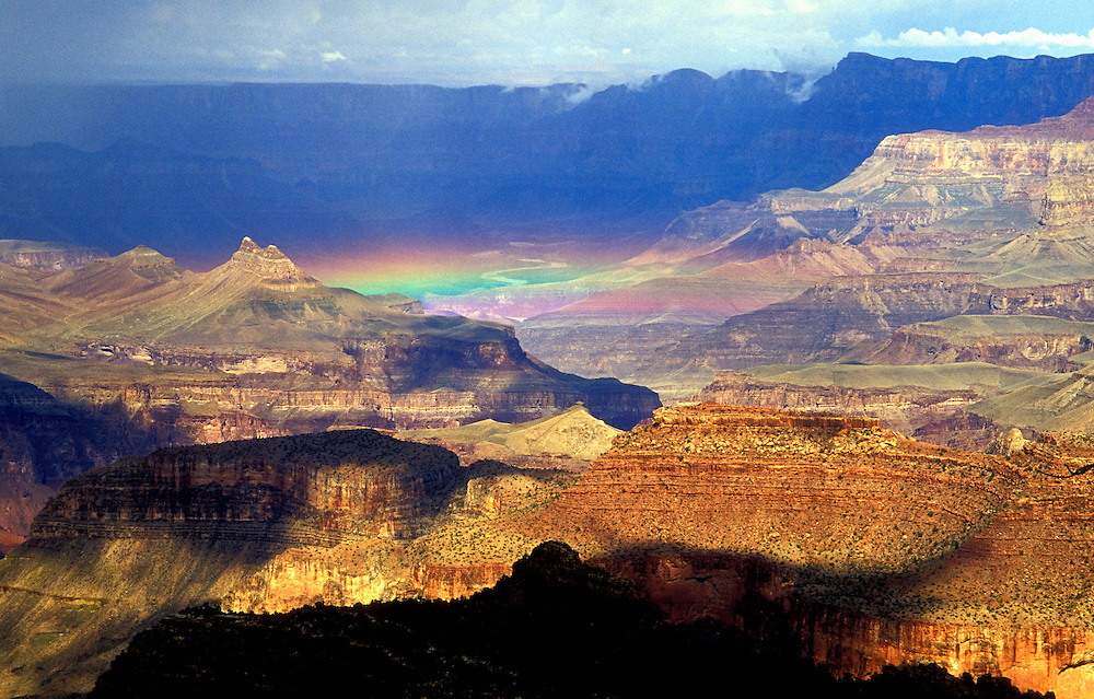 Grand Canyon National Park, AZ:  Rainbow after a storm, from Mather Point on the South Rim.  (Gamma and Offset adjusted slightly.)