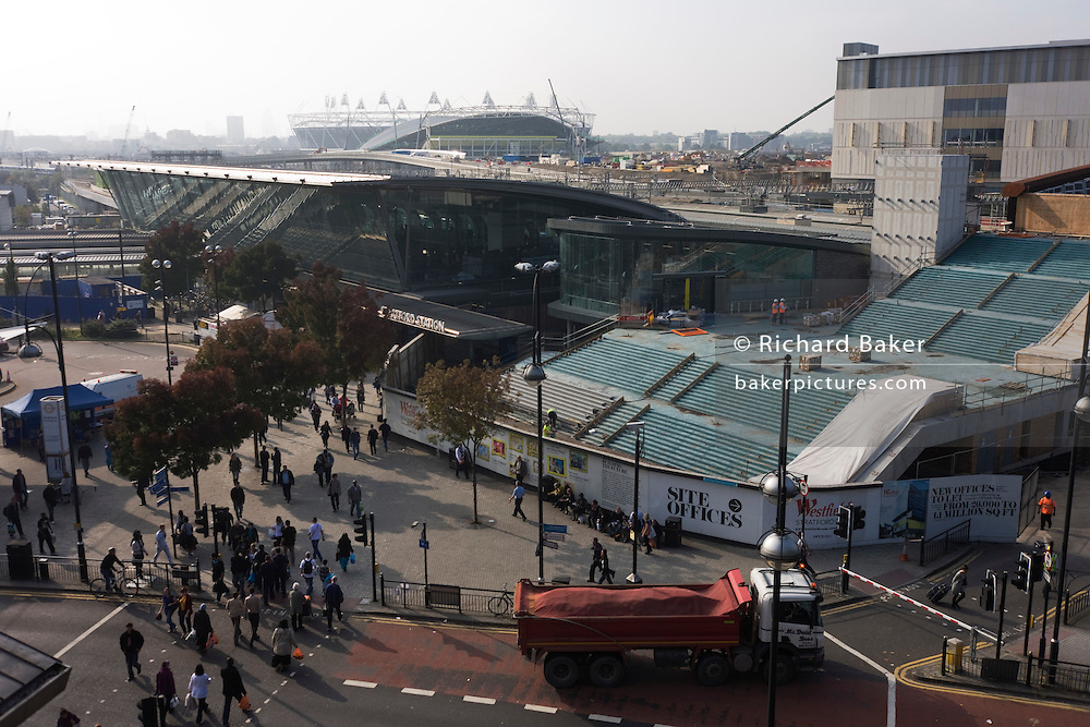 Aerial landscape of Stratford town centre during redevelopment phase of Westfield and 2012 Olympics construction
