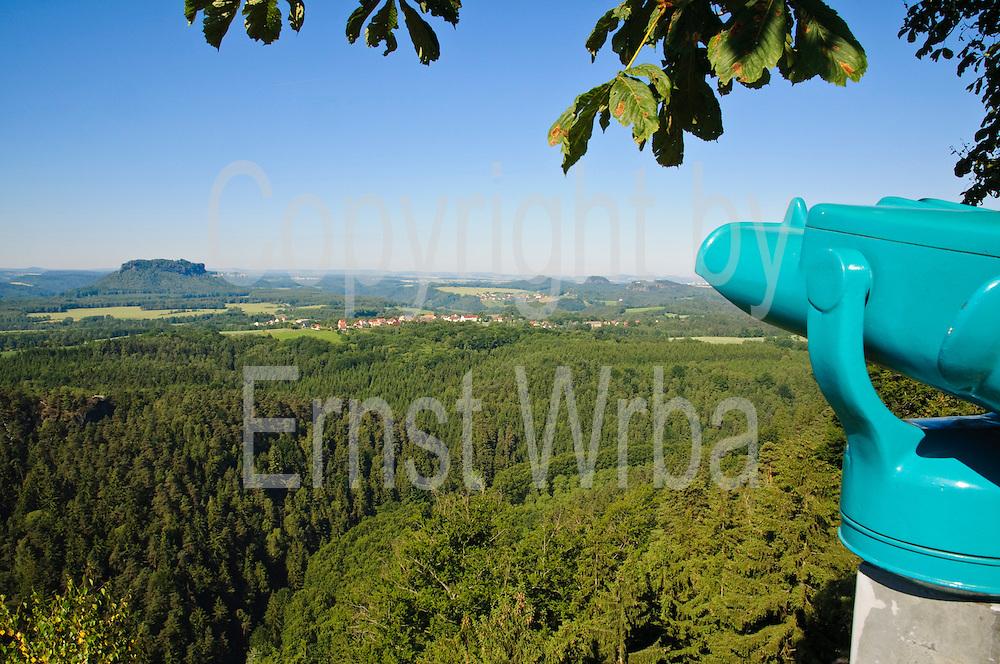 Brand,-Aussicht, Teleskop, Elbsandsteingebirge, Sächsische Schweiz, Sachsen, Deutschland.|.Brand viewpoint, telescope, Saxon Switzerland, Saxony, Germany