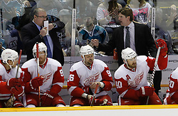 May 1, 2011; San Jose, CA, USA; Detroit Red Wings head coach Mike Babcock (top, right) instructs his team against the San Jose Sharks during the first period of game two of the western conference semifinals of the 2011 Stanley Cup playoffs at HP Pavilion. Mandatory Credit: Jason O. Watson / US PRESSWIRE
