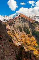 View of switchbacks on Black Bear Pass seen from Imogene Pass, above Telluride, San Juan Mountains, southwest Colorado USA.