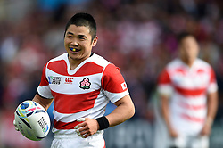 Fumiaki Tanaka of Japan is all smiles - Mandatory byline: Patrick Khachfe/JMP - 07966 386802 - 23/09/2015 - RUGBY UNION - Kingsholm Stadium - Gloucester, England - Scotland v Japan - Rugby World Cup 2015 Pool B.