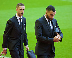LIVERPOOL, ENGLAND - Sunday, January 17, 2016: Liverpool's Steven Caulker and captain Jordan Henderson arrive before the Premier League match against Manchester United at Anfield. (Pic by David Rawcliffe/Propaganda)