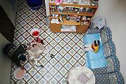 Marrakech, Maroc. 21 Decembre 2007..Aid El Kebir est une des fetes les plus importantes de l'Islam. ..Marrakesh, Morocco. December 21st 2007..The butcher cut the throat of Mustapha's sheep to celebrate Eid Al-Adha. Eid Al-Adha is one of the most important celebrations in the Islam traditions.