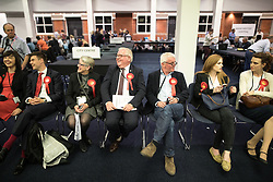 © Licensed to London News Pictures . 08/06/2017 . Manchester , UK . Labour Party supporters at the Manchester Central Convention Centre where the count for the constituencies of Blackley and Broughton, Manchester Central, Manchester Gorton, Manchester Withington and Wythenshawe and Sale East, in the General Election, is taking place . Photo credit : Joel Goodman/LNP