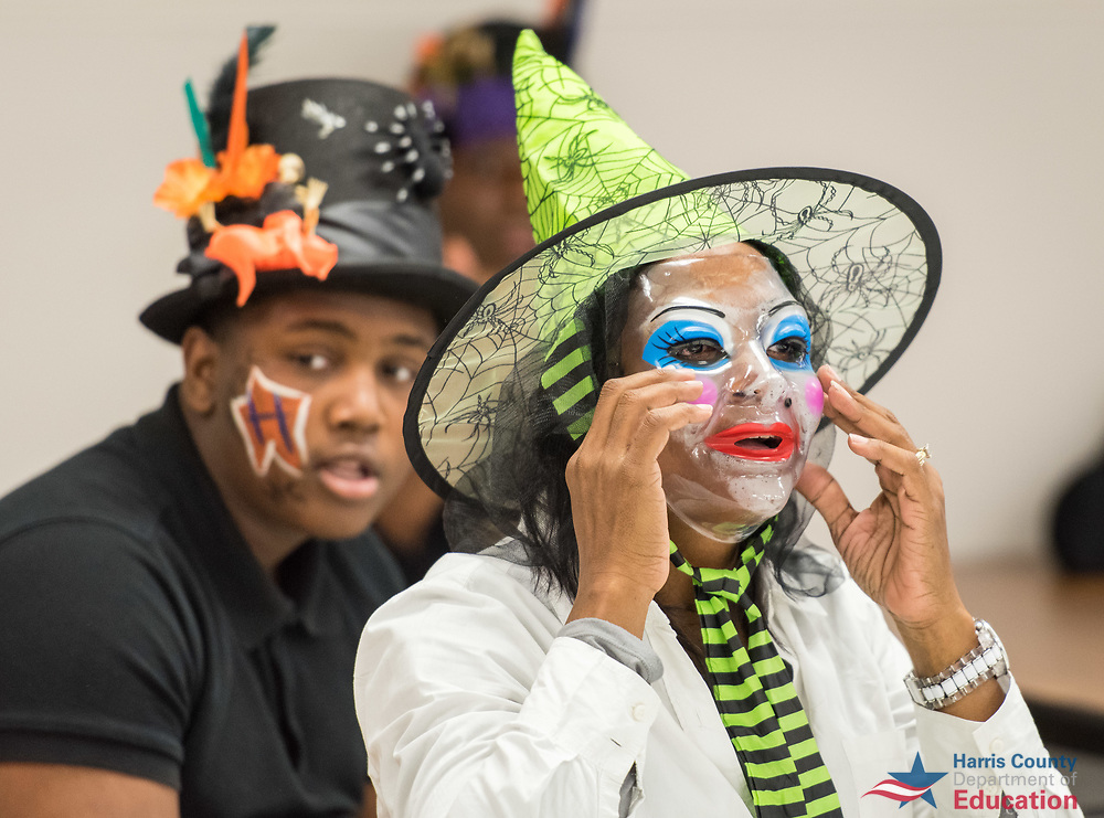Students and staff participate in a costume contest during Fall Fest at Academic and Behavioral School West, October 26, 2017.