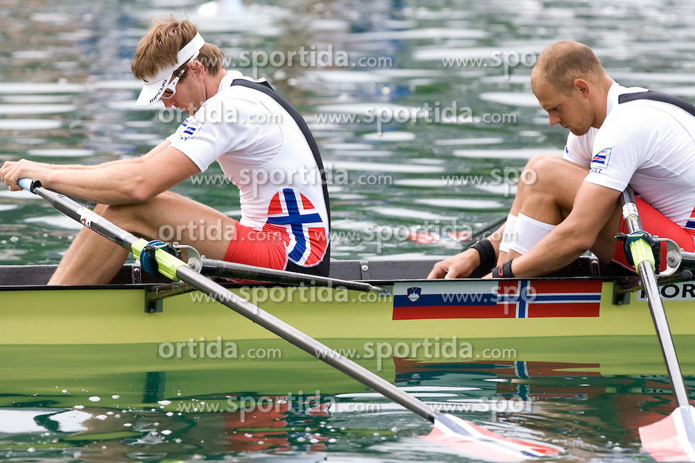 Iztok Cop of Slovenia and Olaf Tufte of Norway compete during finals of Rowing World Cup  on May 30, 2010, at Bled's lake, Bled, Slovenia. (Photo by Vid Ponikvar / Sportida)