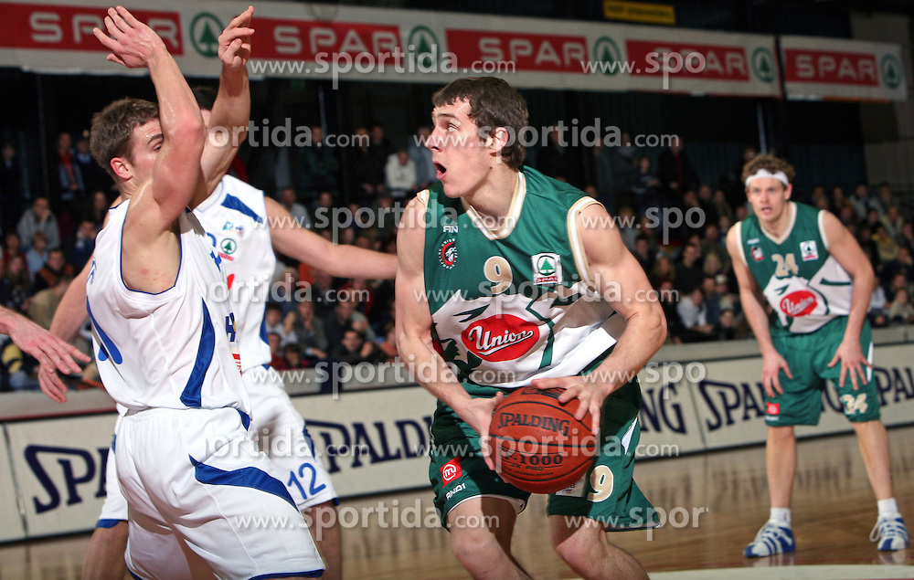 Goran Dragic of Union Olimpija during the final match of Spar Cup 2007-08 between Union Olimpija, Ljubljana, Slovenia, and Helios Domzale, Slovenia, on February 10, 2008, in Arena Kodeljevo, Ljubljana, Slovenia. Match and Cup was won by Union Olimpija, who defeated Helios Domzale in final match with 85:66. (Photo by Vid Ponikvar / Sportal Images).