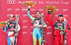 29.12.2009, Stelvio, Bormio, ITA, FIS Worldcup Alpin Ski Bormio, Abfahrt, im Bild DEFAGO Didier+#17 ( SUI ), Ski Rossignol zweitplazierter, JERMAN Andrej+#5 ( SLO ), Ski Stoeckli, Sieger und WALCHHOFER Michael+#20 ( AUT ), Ski Atomic, Drittplazerter, Siegerfoto, Posest, Ceremony, EXPA Pictures © 2009, Photographer EXPA/ J. Groder/ SPORTIDA PHOTO AGENCY