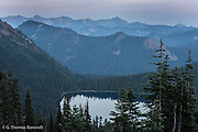 Dewey Lake in the late evening light just before the moon rises over William O. Douglas Wilderness.