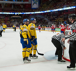 08.05.2013, Globe Arena, Stockholm, SWE, IIHF, Eishockey WM, Schweden vs Norwegen, im Bild Sverige Sweden 91 Andreas Jämtin, Sverige Sweden 12 Fredrik Pettersson // during the IIHF Icehockey World Championship Game between Sweden and Norway at the Ericsson Globe, Stockholm, Sweden on 2013/05/08. EXPA Pictures © 2013, PhotoCredit: EXPA/ PicAgency Skycam/ Johan Andersson..***** ATTENTION - OUT OF SWE *****