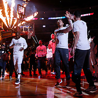 09 November 2015: Los Angeles Clippers guard Chris Paul (3) and Los Angeles Clippers forward Blake Griffin (32) are seen during the players introduction prior to the Los Angeles Clippers 94-92 victory over the Memphis Grizzlies, at the Staples Center, in Los Angeles, California, USA.