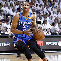 19 June 2012: Oklahoma City Thunder point guard Russell Westbrook (0) is seen on offense during the first quarter of Game 4 of the 2012 NBA Finals, Thunder at Heat, at the AmericanAirlinesArena, Miami, Florida, USA.
