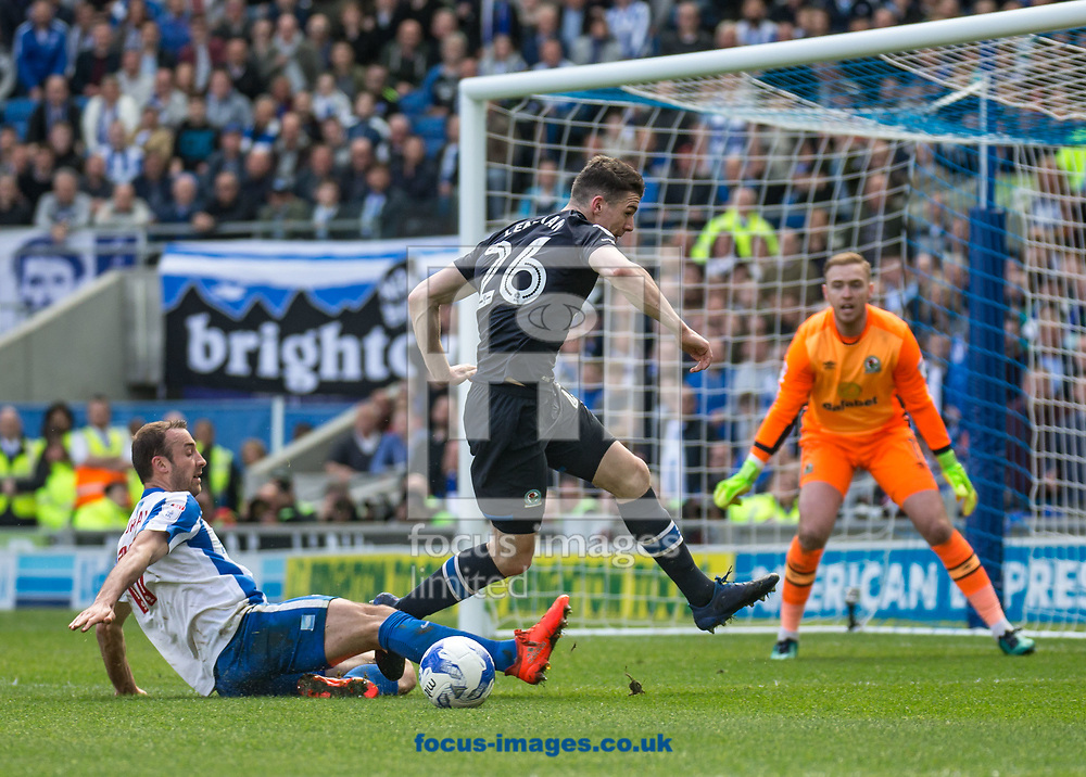 Glenn Murray of Brighton &amp; Hove Albion slides in on Darragh Lenihan of Blackburn Rovers during the Sky Bet Championship match at the American Express Community Stadium, Brighton and Hove<br /> Picture by Liam McAvoy/Focus Images Ltd 07413 543156<br /> 01/04/2017
