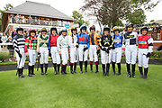 The Lady Jockey's line up before The Queen Mothers Cup (for Lady Amateur Riders) over 1m 4f (£20,000) during the Macmillan Charity Raceday at York Racecourse, York, United Kingdom on 16 June 2018. Picture by Mick Atkins.