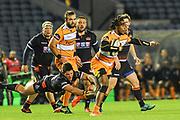 Rabz Maxwane skips a tackle during the Guinness Pro 14 2018_19 match between Edinburgh Rugby and Toyota Cheetahs at BT Murrayfield Stadium, Edinburgh, Scotland on 5 October 2018.