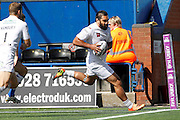 Widnes' Pat Ah Van  runs in the first try during the First Utility Super League match between Widnes Vikings and Wakefield Wildcats at the Select Security Stadium, Halton, United Kingdom on 21 August 2016. Photo by Craig Galloway.