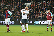 Zlatan Ibrahimovic Forward of Manchester United celebrates his goal with Paul Pogba Midfielder of Manchester United during the Premier League match between West Ham United and Manchester United at the Stadium Queen Elizabeth Olympic Park, London, United Kingdom on 2 January 2017. Photo by Phil Duncan.