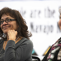 050215      Cayla Nimmo<br /> <br /> Elvira Chezvapena listens to introductions at the Diné Constitution preliminary meeting held in White Corn Saturday.