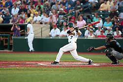 "1 June 2010: Eric Brown takes a mighty swing. The Windy City Thunderbolts are the opponents for the first home game in the history of the Normal Cornbelters in the new stadium coined the ""Corn Crib"" built on the campus of Heartland Community College in Normal Illinois."