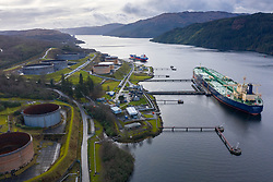 Aerial view of Finnart Ocean Terminal operated by Petroineos on Loch Long , Argyll and Bute, Scotland, UK